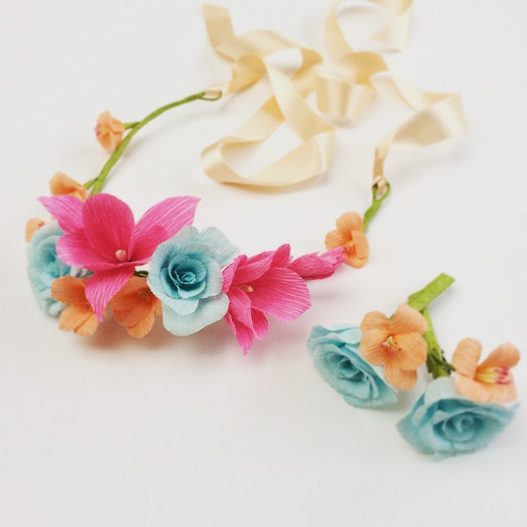 paper flower crown hair accessories wedding flowers paper flowers