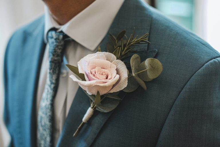 paper rose buttonhole