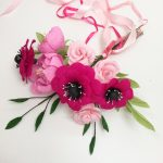 pink paper bouquet, roses anemones peny
