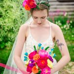 paper rainbow bouquet and flower crown