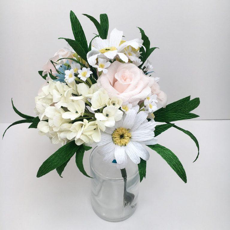 first wedding anniversary bouquet, paper bouquet, paper flowers, bouquet recreation