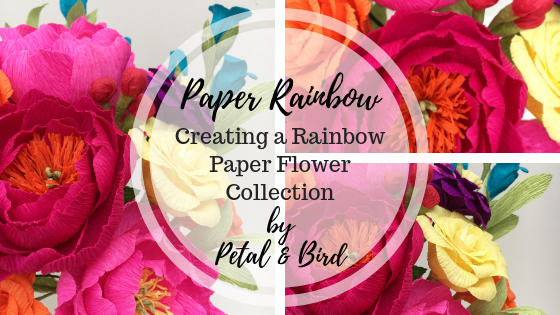 paper flowers, paper bouquet, rainbow flowers, rainbow bouquet, petal and bird