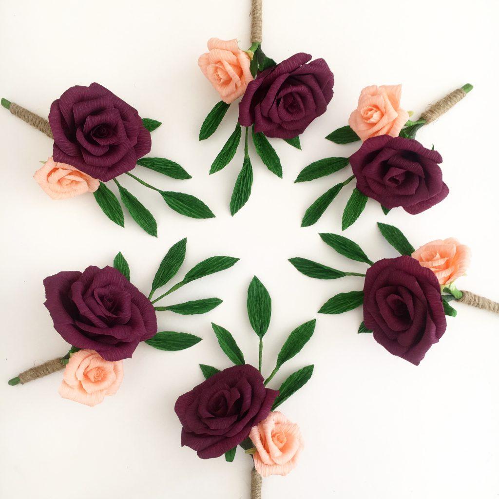 petal and bird wedding bouquet paper bouquet rose buttonholes, wedding paper flowers