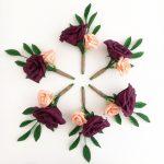 petal and bird wedding bouquet paper bouquet rose buttnholes