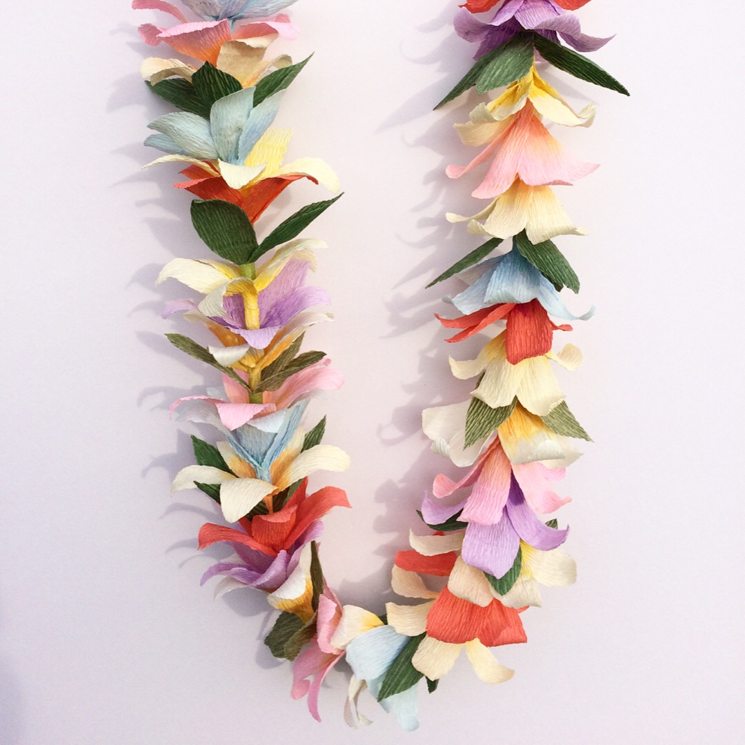 Hawaiian, flower garland, flower lei, paper flowers, paper flower garland, paper flower lei, lei, wedding flowers