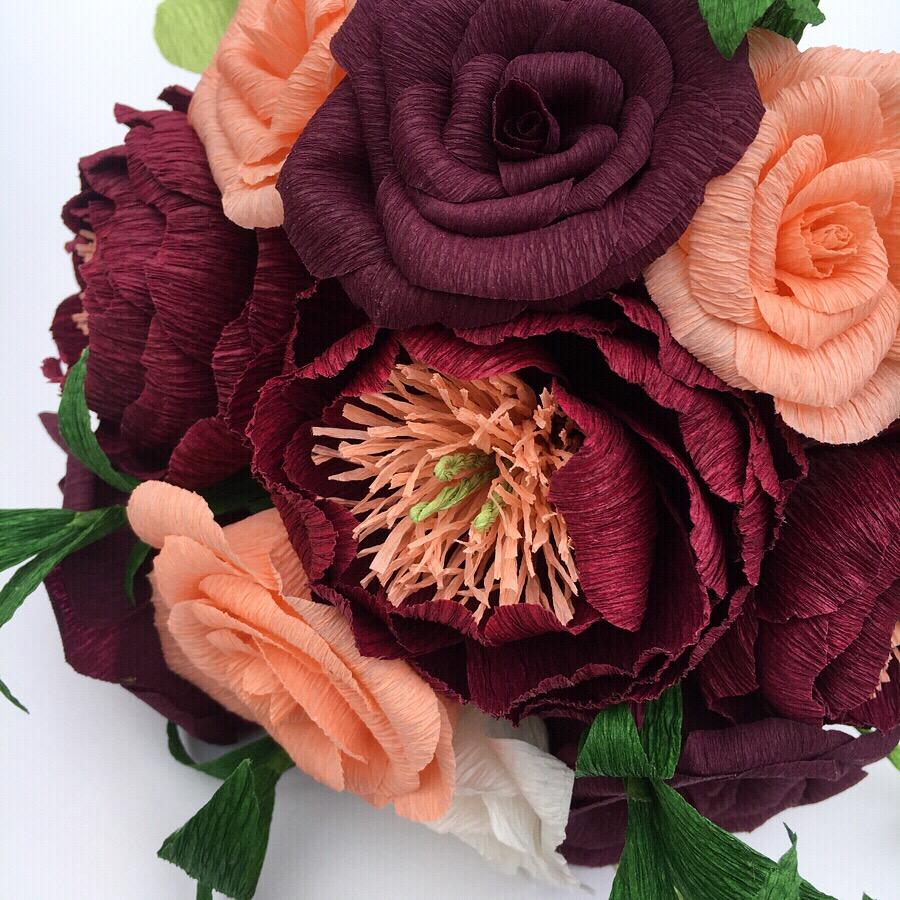 paper bouquet, paper flowers, wedding flowers, paper wedding bouquet