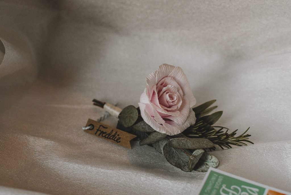 paper flwer buttonhole, paper rose, paper buttonhole, wedding flowers