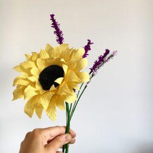 paper flowers, wedding flowers, paper bouquet, sunflowers