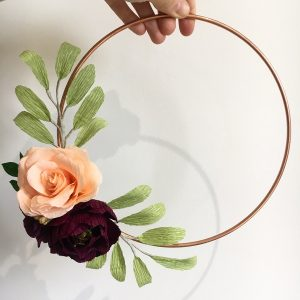paper flowers, wedding flowers, paper bouquet, floral hoop, flower wreath