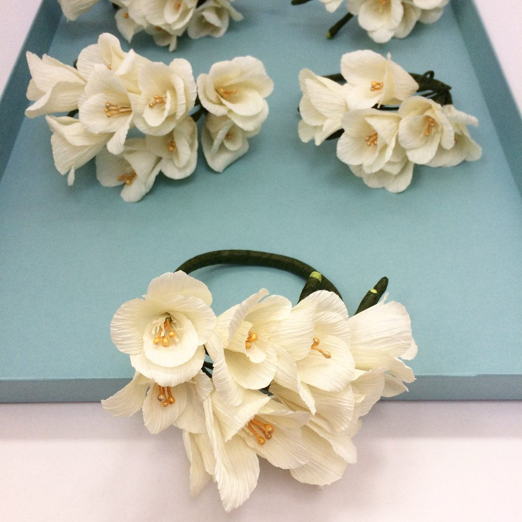 wrist corsages, paper flowers, wedding flowers, destination wedding