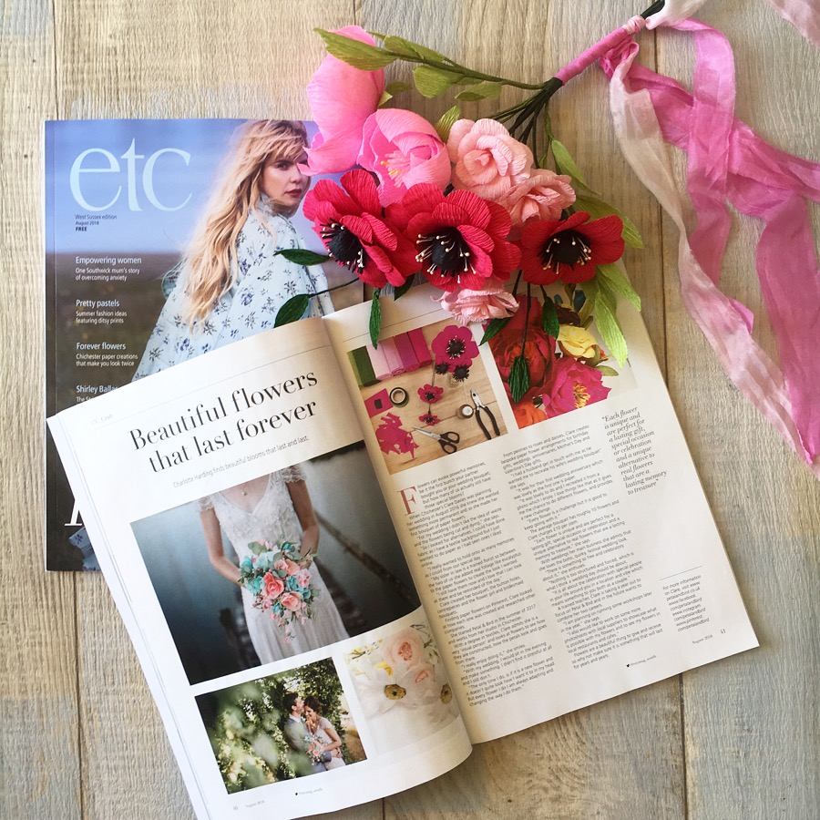 petal and bird, paper flowers, etc magazine, etc magazine feature