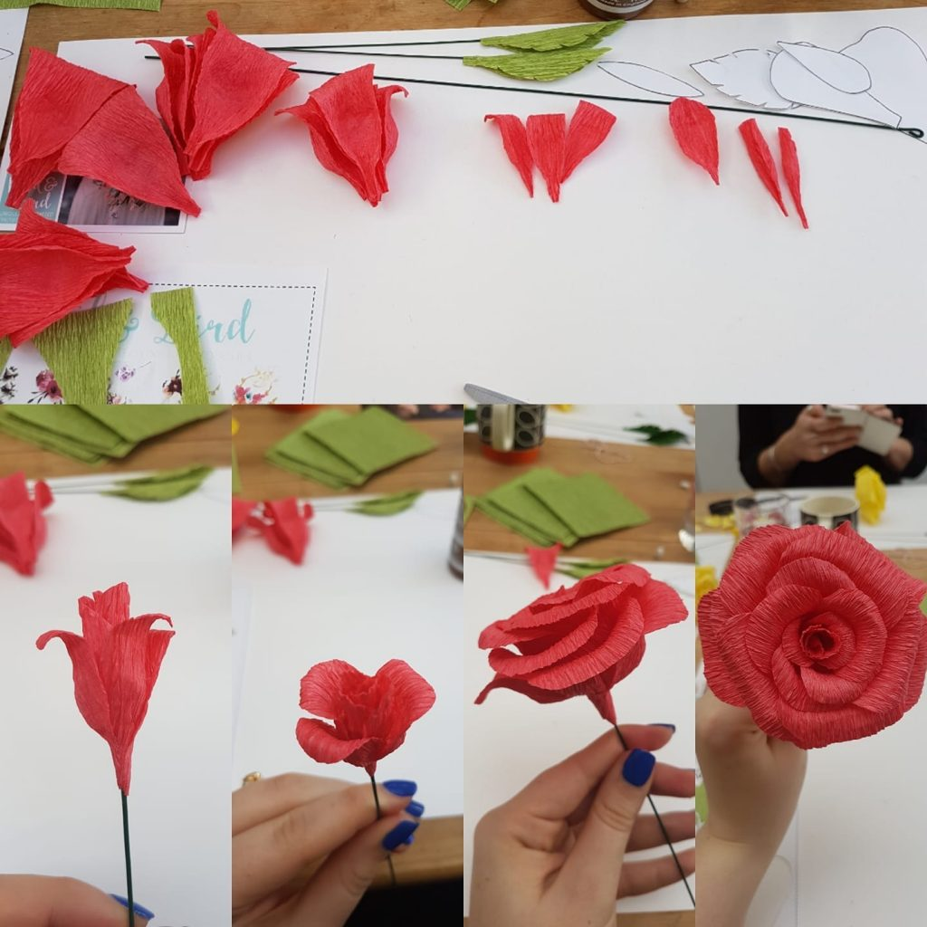 paper rose, paper flowers workshop, wedding flowers, petal and bird