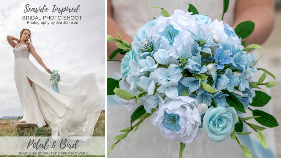 Seaside Inspired Bridal Photo shoot with an Alternative Paper Wedding Bouquet made by Petal & Bird