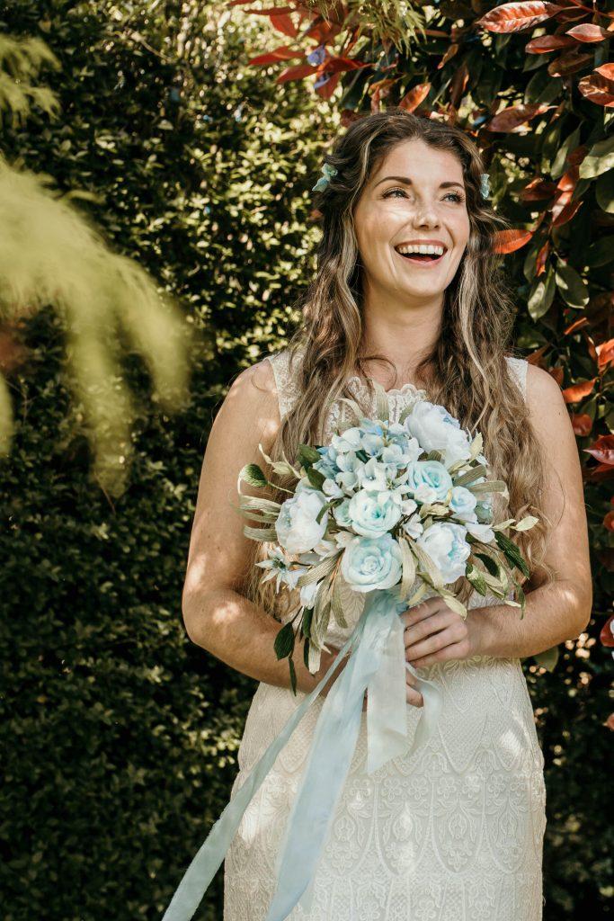 boho bride with paper wedding bouquet made by Petal & Bird