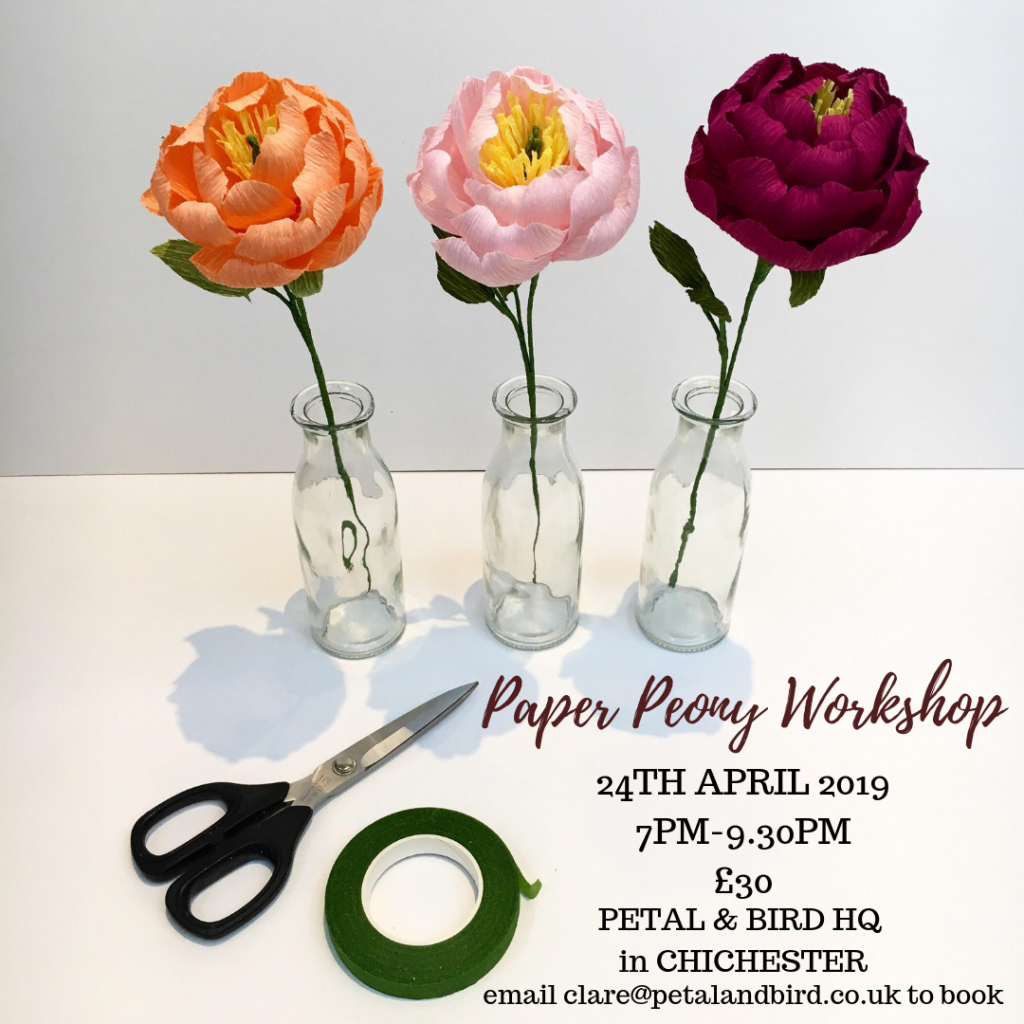 paper flower workshop, paper flowers, craft course, art class, chichester