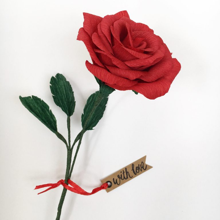 paper rose, single stem rose, paper flower