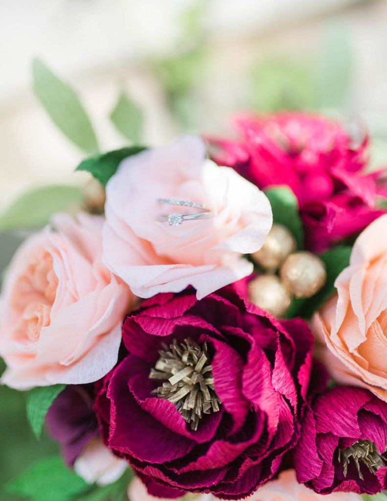 paper wedding bouquet with peonies, roses and gold details
