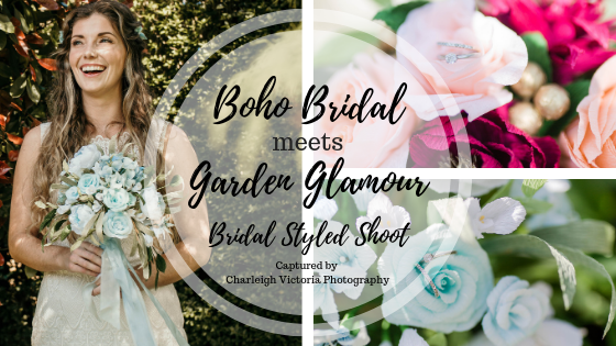 Boho Bride meets garden glamour, wedding styled shoot featuring paper flowers