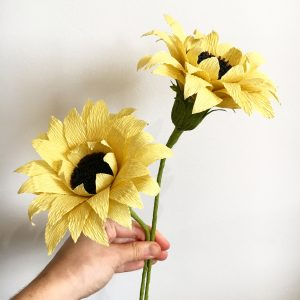 paper sunflowers by petal and bird