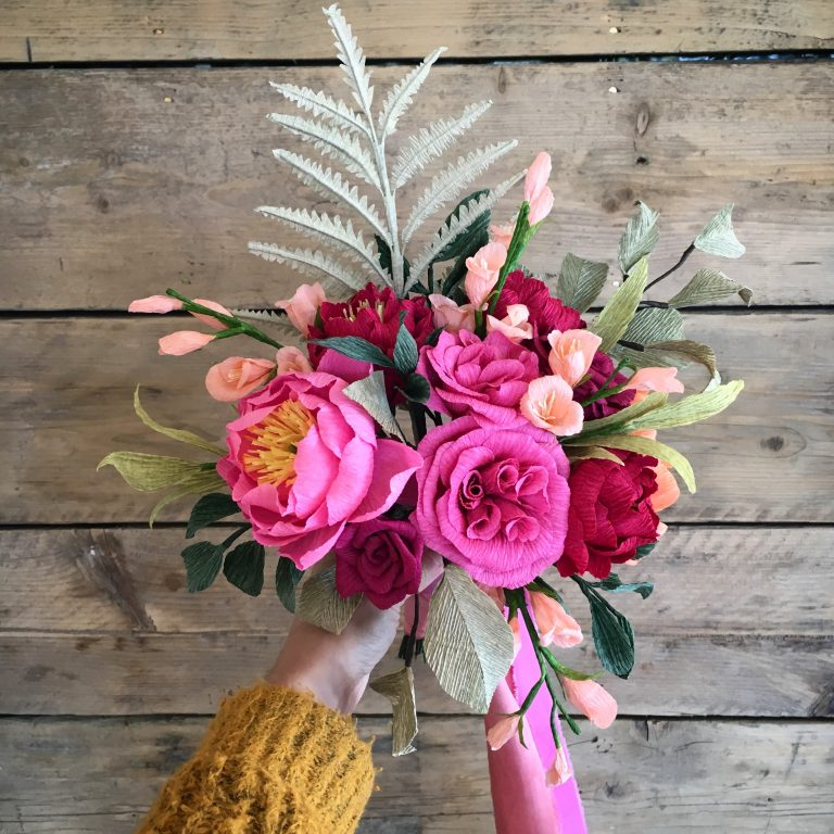 paper wedding bouquet with roses, peonies and ferns