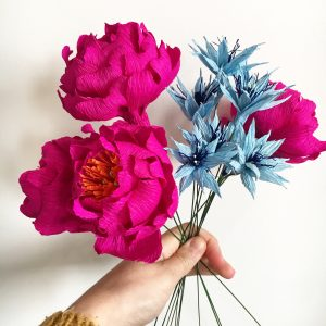 pink peonies and blue love in a mist paper flowers