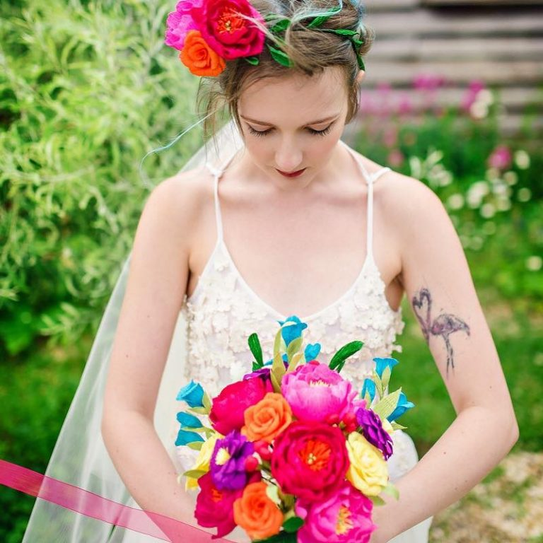 rainbow paper wedding bouquet and flower crown