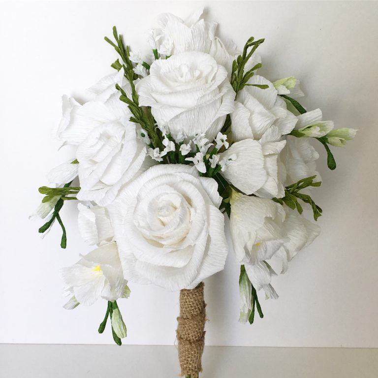white freesias and roses bouquet recreation
