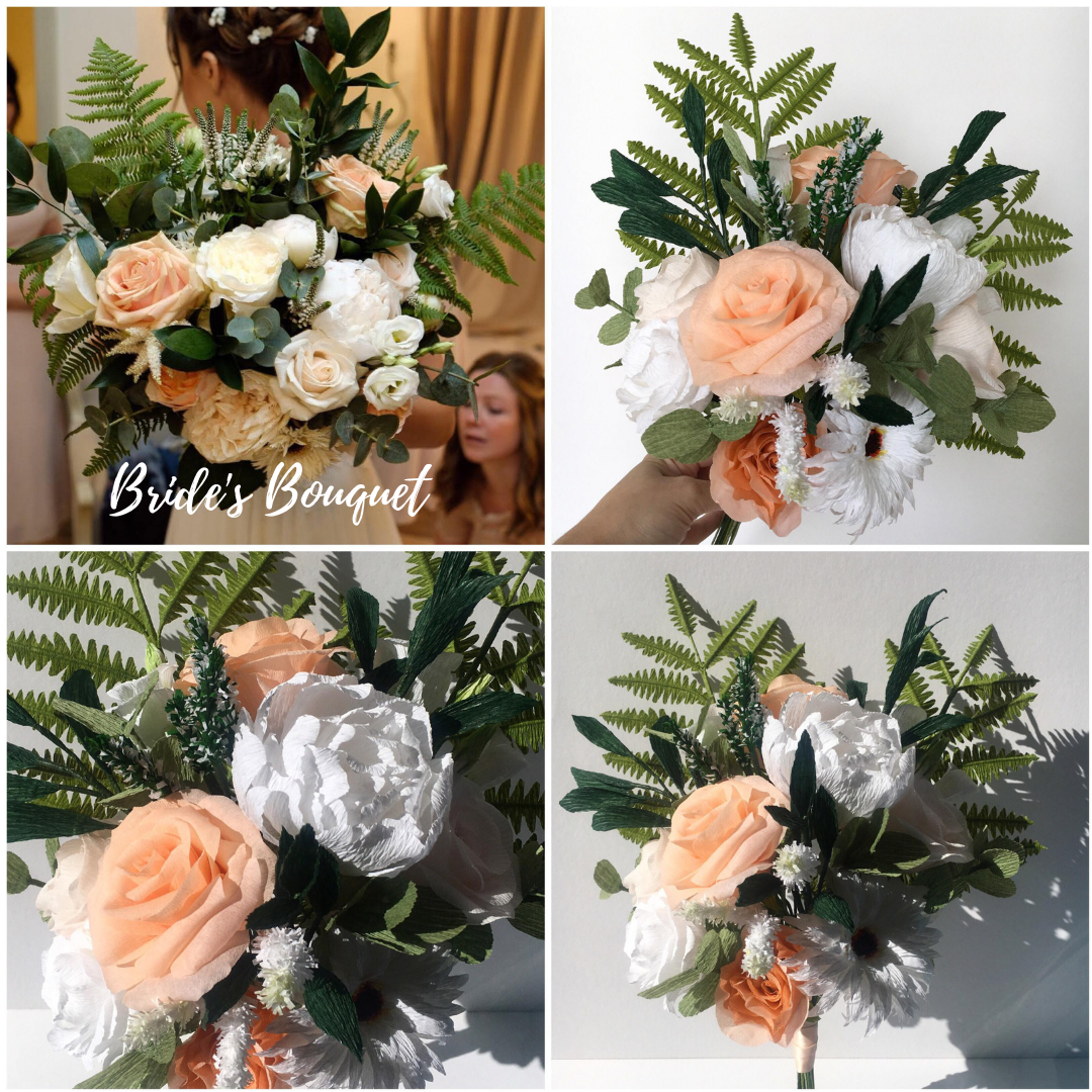 Paper bouquet recreations including paper ferns, peonies, roses ad gerbera