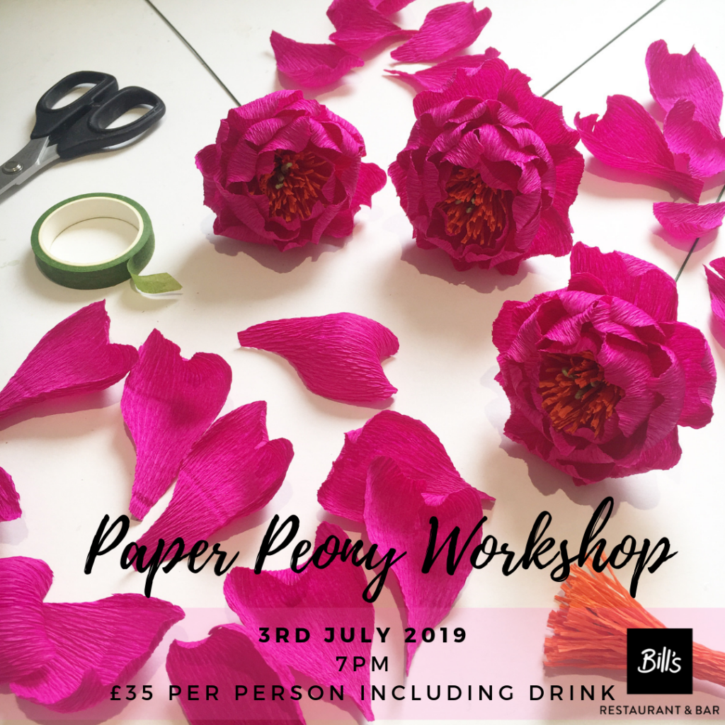 paper peony workshop at Bill's Chichester 3rd July 2019