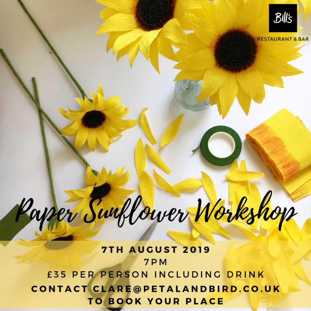 Paper Flower Workshop learning Sunflowers with Petal and Bird in Chichester
