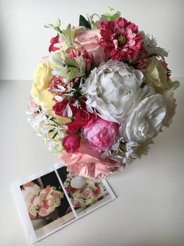 Paper bouquet made to replicate your wedding flower by Petal and Bird
