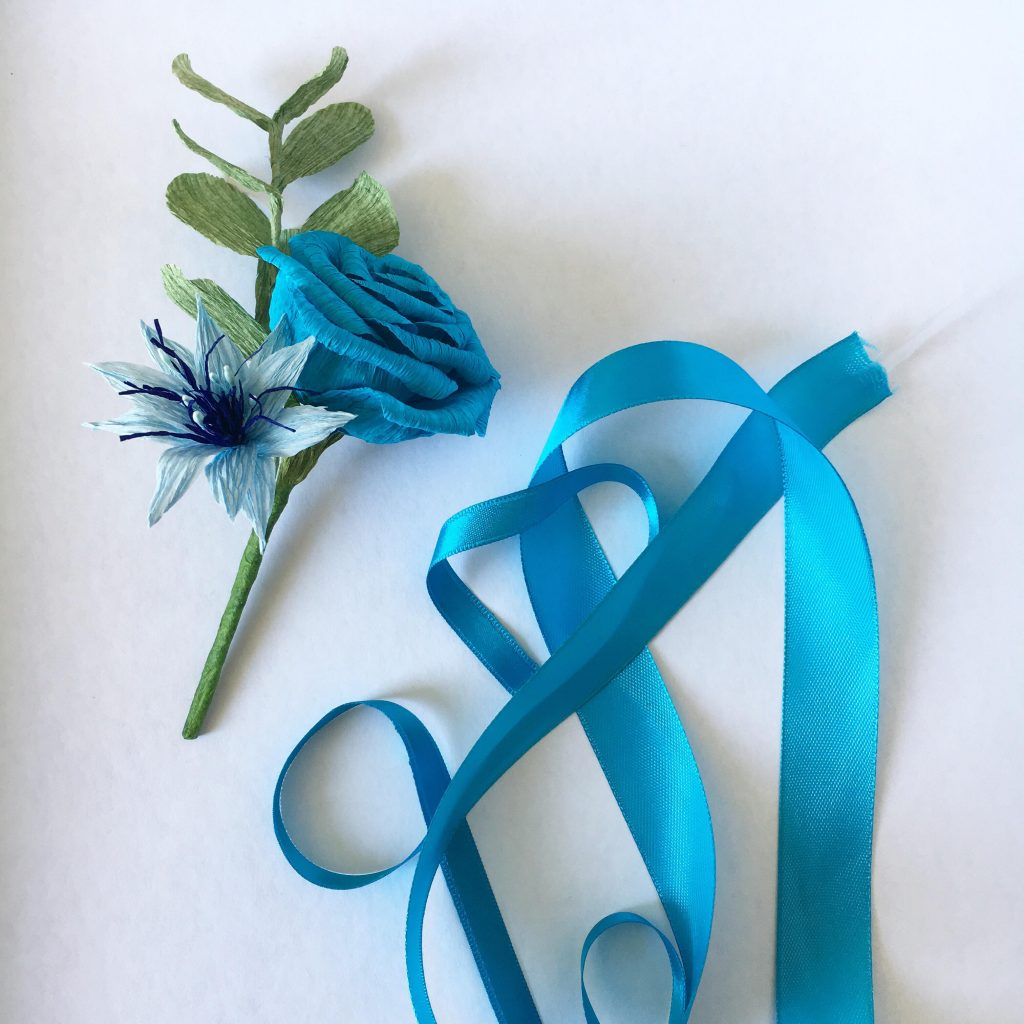 paper buttonhole and ribbon