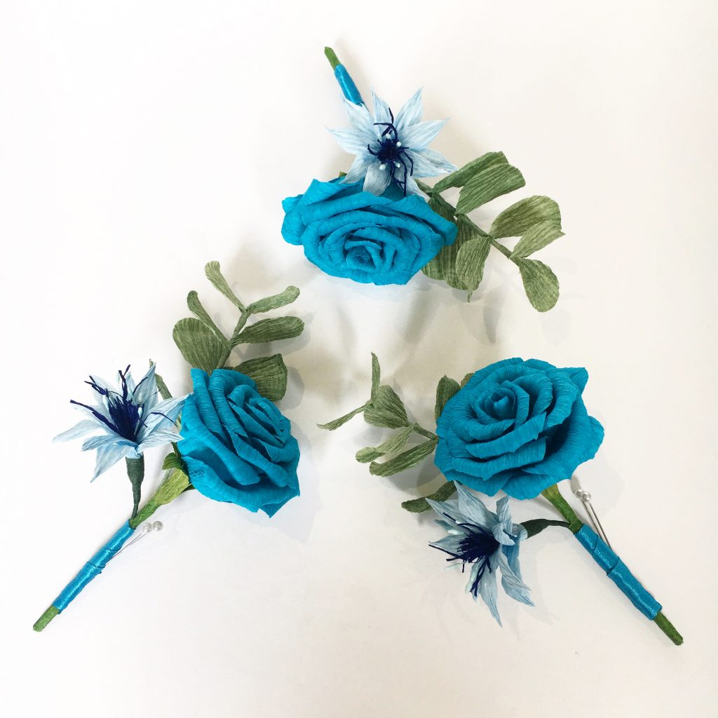paper rose and love in a mist buttonholes handmade by Petal and Bird