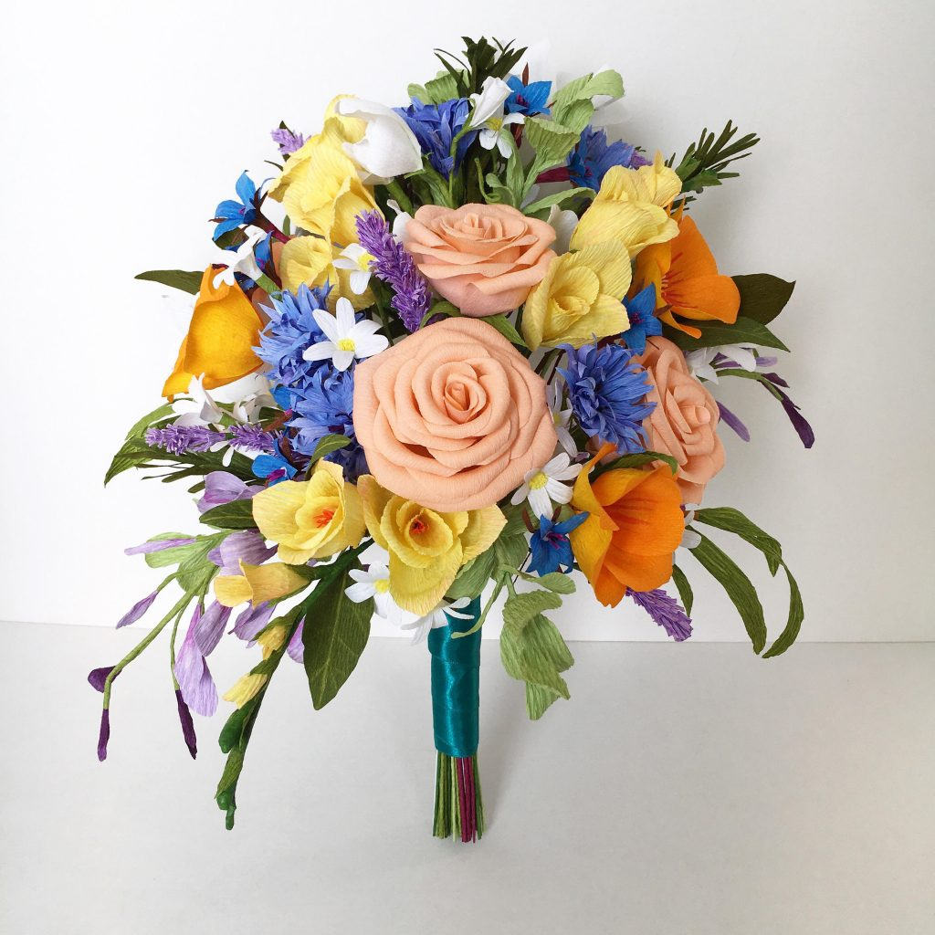 Destination wedding Flowers. Paper Wedding Bouquet by Petal and Bird