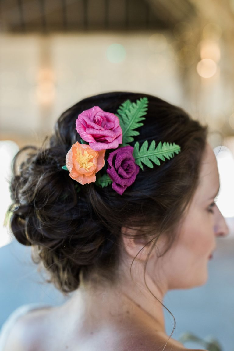 paper hair flowers for bride