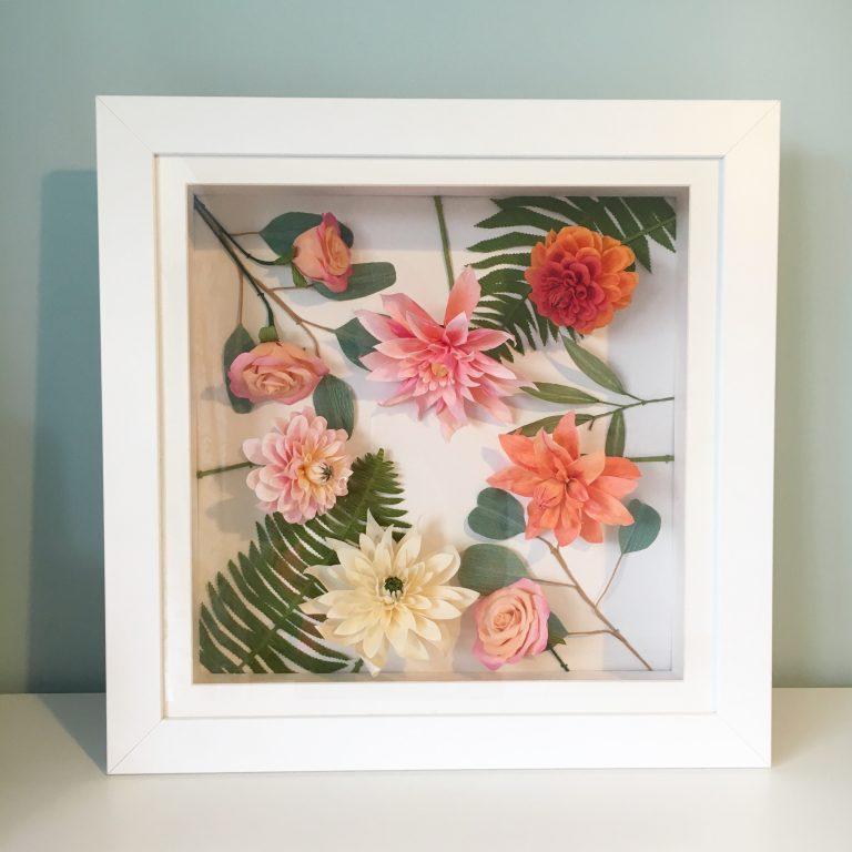 Paper Wedding Flowers Framed