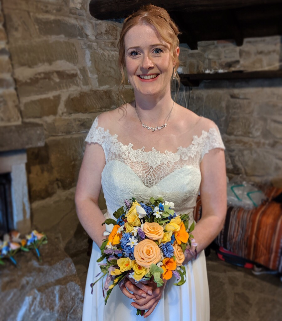 Real bride with paper bouquet designation wedding