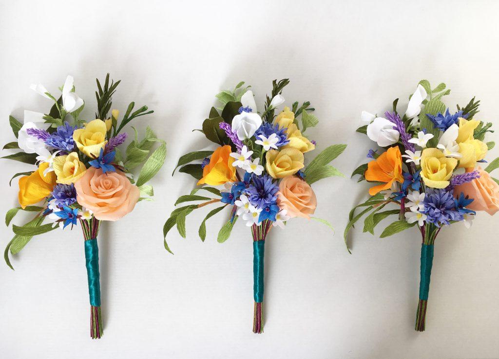 Paper Bridesmaid's bouquet by Petal and Bird Destination wedding Flowers