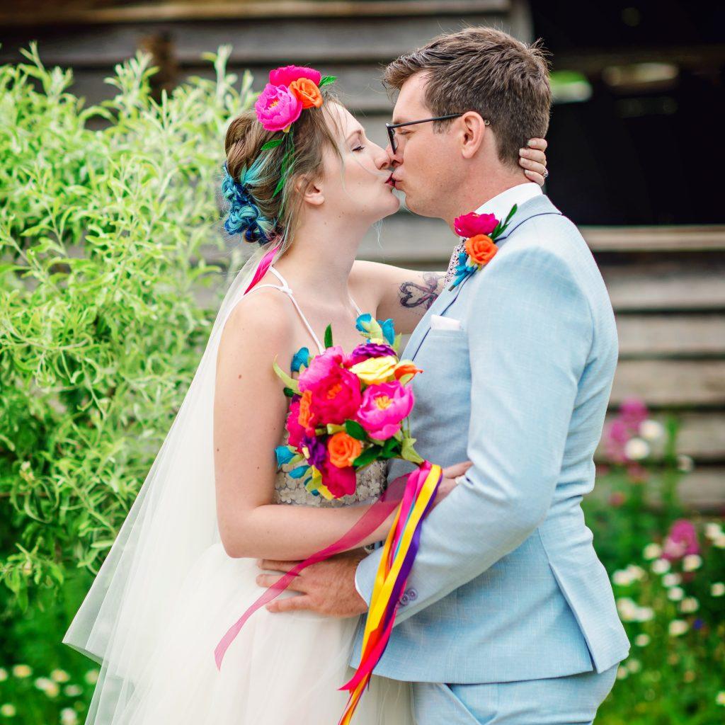 rainbow paper bouquet, rinabow paper bouquet, festival bride, paper bouquet, petal and bird, alternative wedding flowers, paper flowers