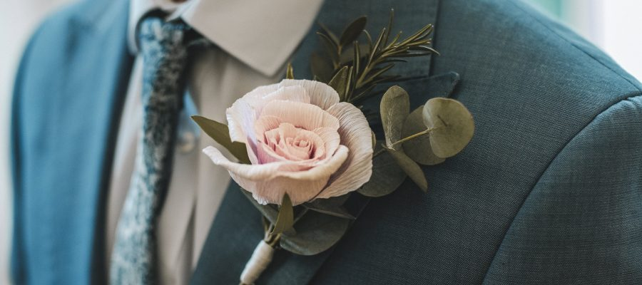 paper rose buttonhole