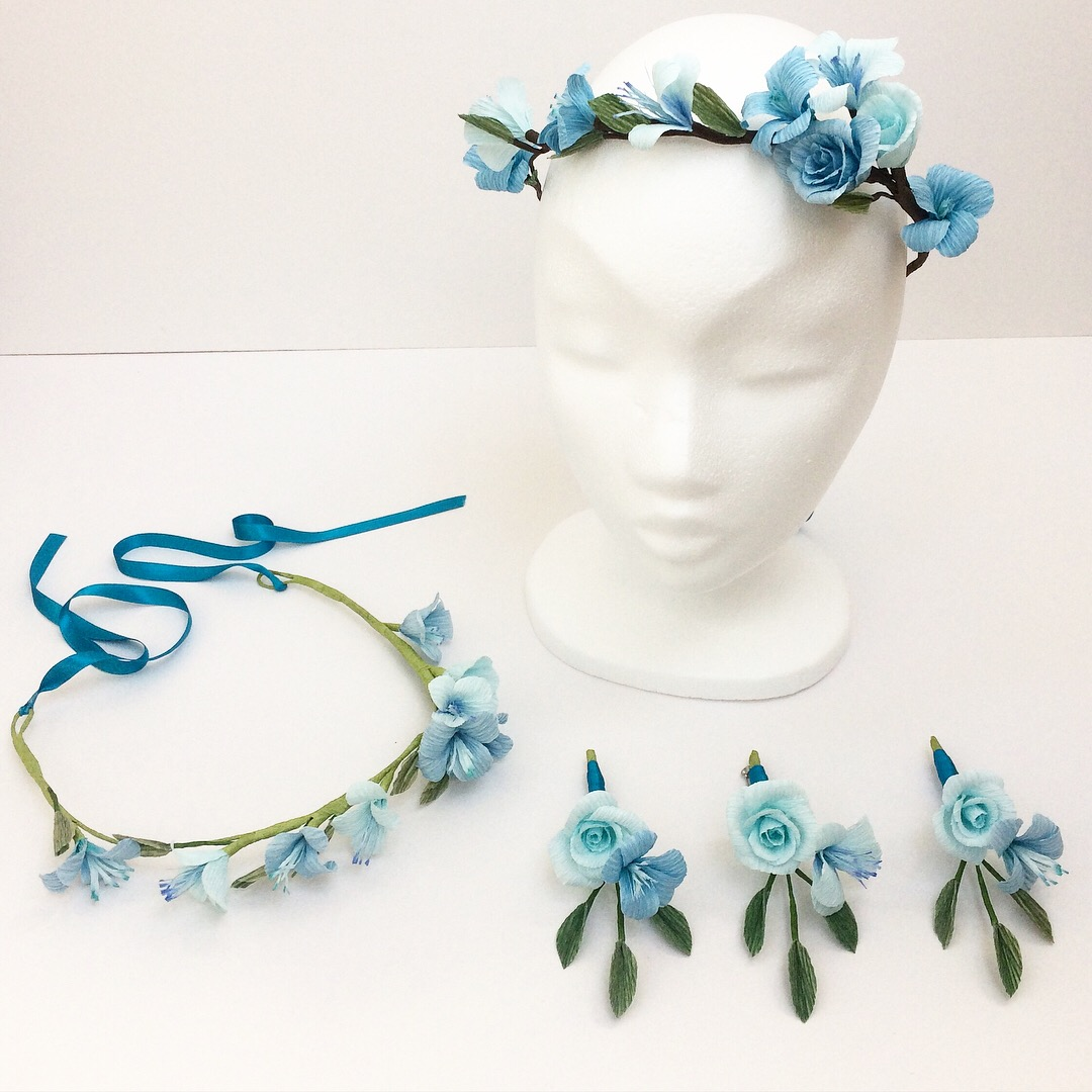 blue paper flowers, paper flower crowns, buttonholes