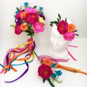 rainbow paper flowers
