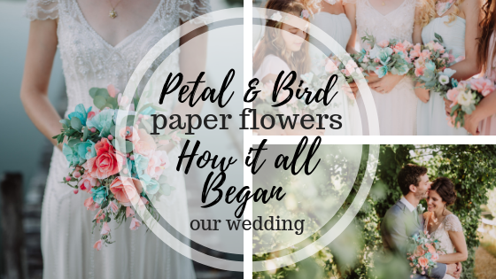 paper flowers, paper bouquet, wedding flowers, petal and bird