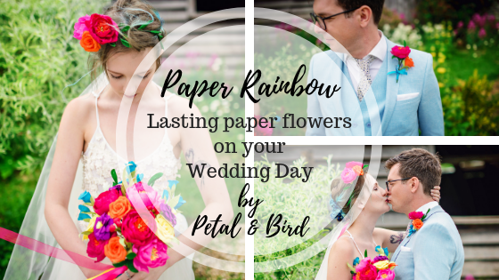 paper flowers, paper bouquet, wedding flowers, paper wedding flowers, rainbow flowers, rainbow, festival wedding