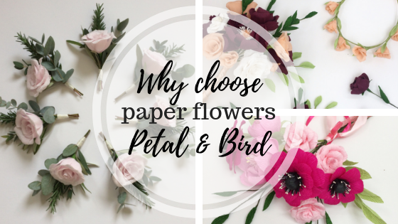paper flowers, paper florist, paper bouquet, petal and bird, wedding flowers