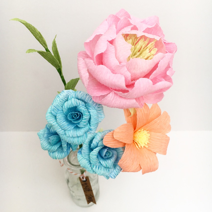 paper flower bouquet, paper flowers, birthday flowers