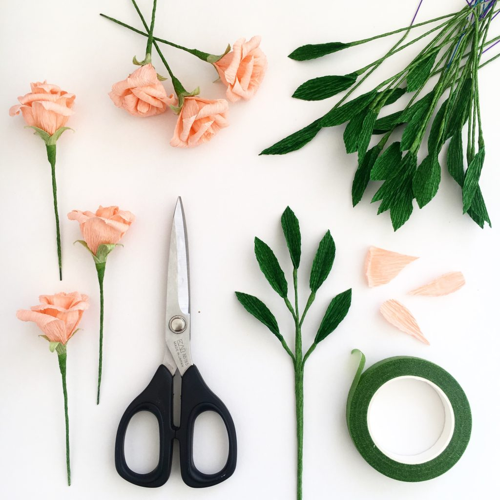 peach paper rose, paper flowers, paper bouquet,wedding paper flowers