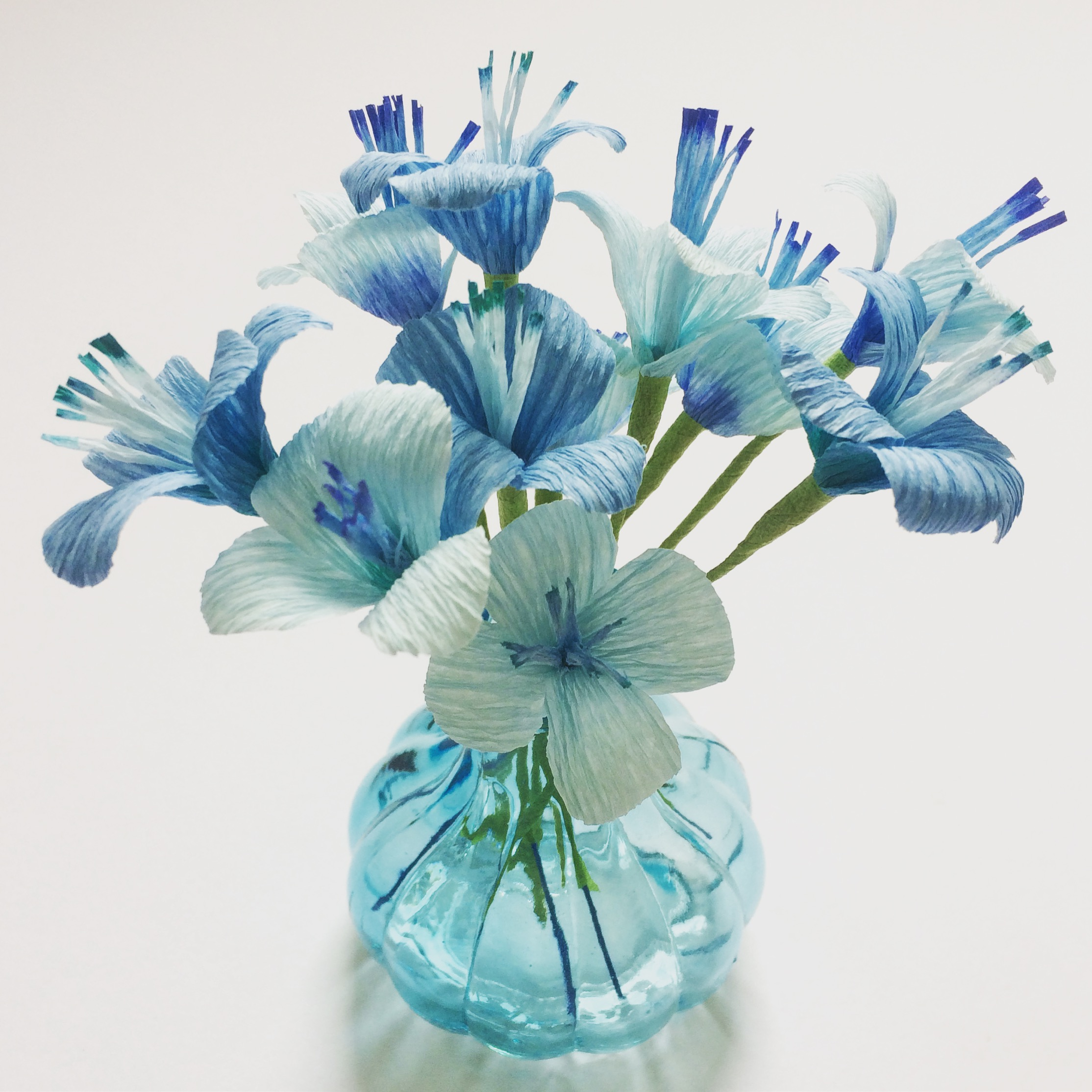 paper flowers, paper blossom, blue flowers, wedding flowers