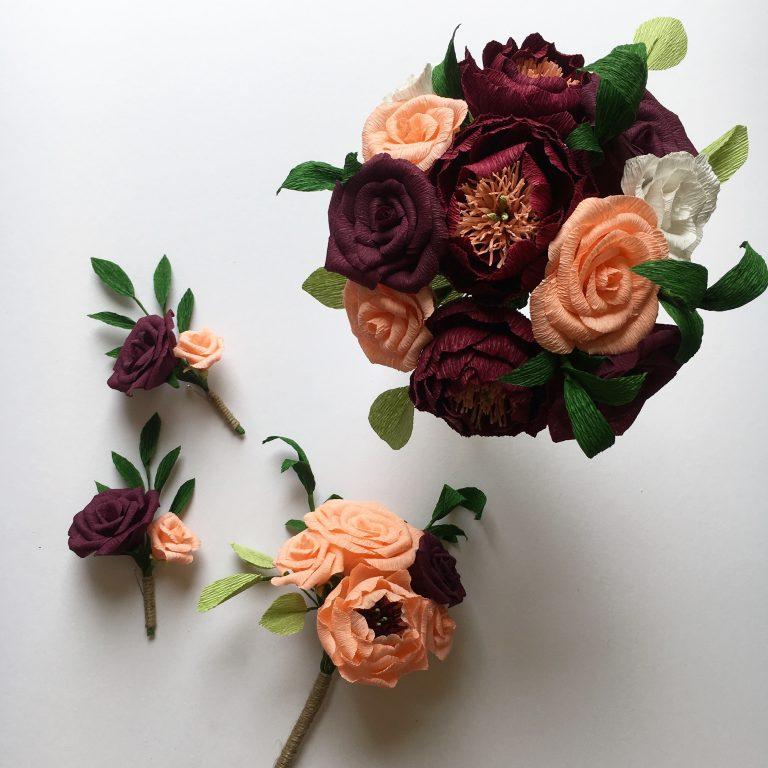 paper flower wedding bouquet, bouquet, buttonholes brides bouqiet, bridesmaid bouquet, paper flowers