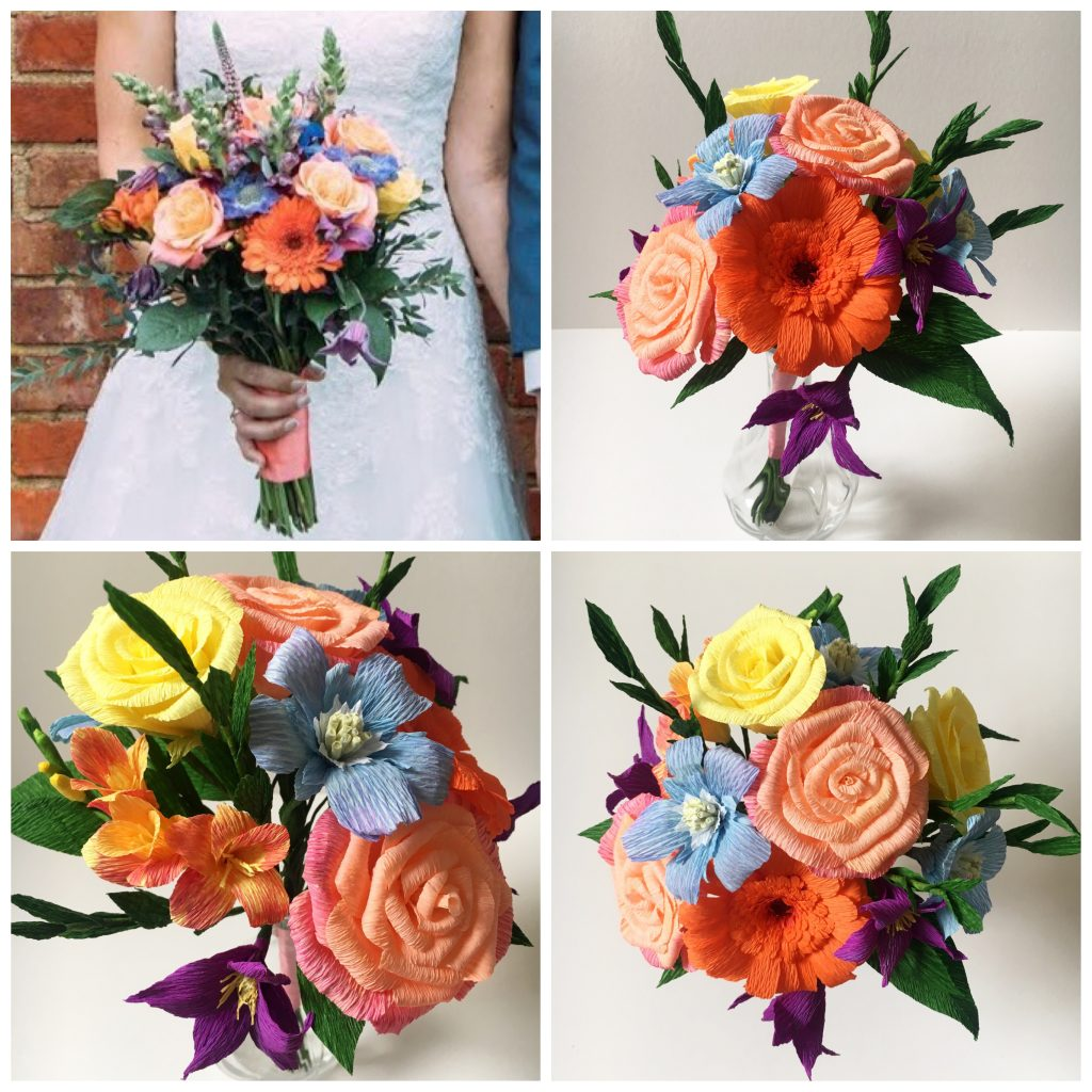 Wedding Bouquet Recreation, bouquet recreation, anniversary bouquet, keepsake, paper flowers, paper